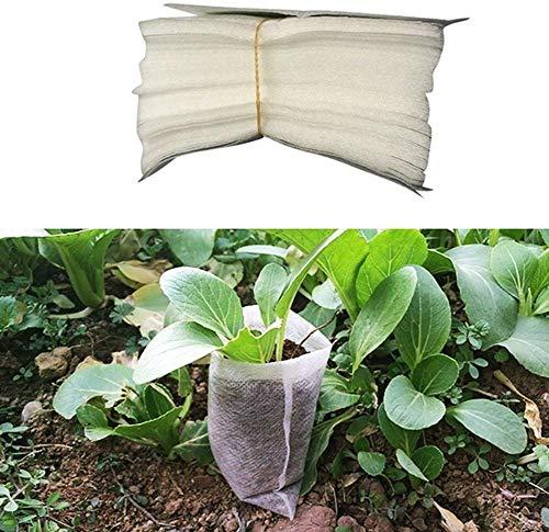 Biodégradable Plante Grow Sacs, 100/300pcs Non Tissé Maternelle Sacs Tissu Semence Pots Allaitement Raising en Croissance Sacs Pots Plantes Pochette Jardin Alimentation - 20x22cm, 300pcs