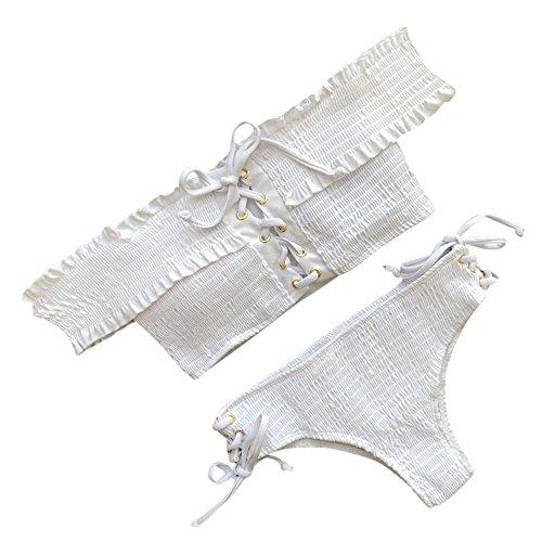Amlaiworld Sommer Gefaltet Strand Badeanzüge Mode Damen Bademode Elegant Badeanzüge Niedlich Mädchen Bikini Set Band Beachwear (M, Weiß)