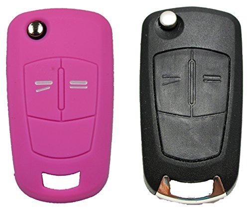 Gradert-Elektronik 1x Pinke Autoschlüsselhülle - Opel 2 Tasten - Silikonhülle - Fernbedienung - Schlüsselhülle - Key Cover - Schutzüberzug - Klappschlüssel - Gehäuse - Tasche - Silikoncover Corso Cover