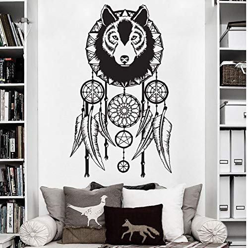 ljmljm Negro 50x85 cm patrón de Lobo atrapasueños Tallado Artista decoración Pegatinas de Pared Puede ser Personalizado