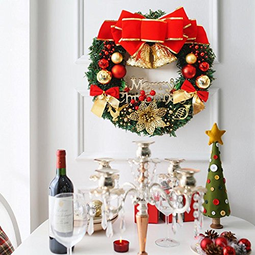 CcCoCc 30 cm Porte de couronnes de Noël Suspendue décoration de Noël rotin de Noël