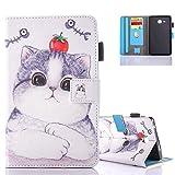 Coque Galaxy Tab A6 7.0' Cuir, Aeeque Cute Chat et Tomate Motif Etui a Rabat Housse...