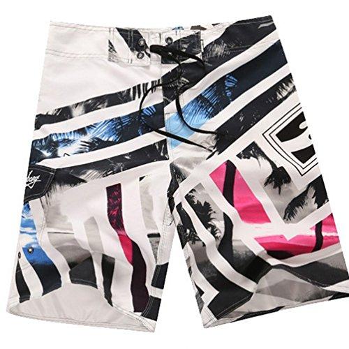 Baymate Hommes Imprimé Shorts De Plage Cocotiers Motif Short De Bain Boardshorts Blanc