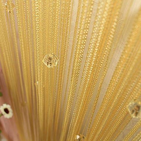 segurry 1pcs Filo decorativo perline tenda a pannello da parete frange stanza porta finestra persiane tenda divisorio Jabot pannelli sciarpe Forbici di livelli, Giallo