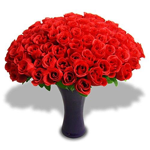 48 x Kunstblume Rosenknospe Blume Blumen Rose rot 45cm