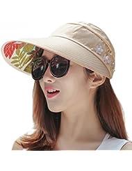 LKMNJ La Sra. Sun Sombreros Sombreros las decoraciones florales de ciclismo paraviento hilo borde ancho playa ,caqui