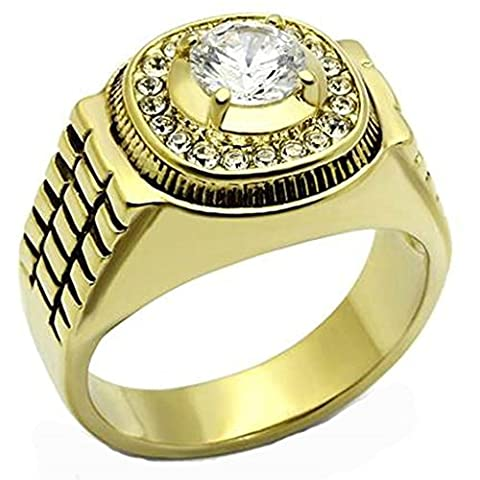 Beydodo Stainless Steel Rings For Men (Wedding Ring) Watch Ring Inlay CZ 2.1cm * 1.7cm Gold Size X 1/2