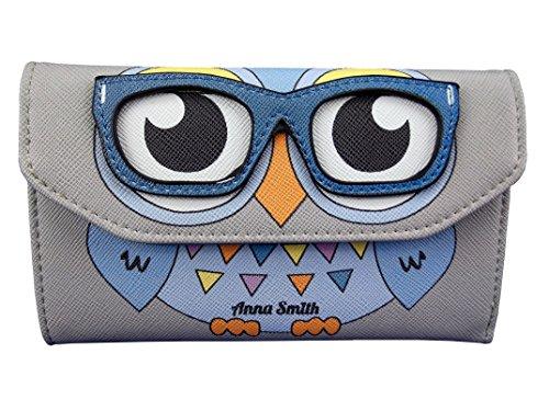 Anna Smith von LYDC Dame-Mädchen-Eule mit Brille Kunststoff Geldbeutel / Mappe (Klein, Grau) (Collection Rv-geldbörse)