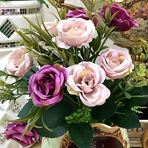 Flower Arrangement - 1 Bunch Artificial Flowers French Rose Floral Bouquet Fake Silk Flower Arrange Table Daisy Camellia - Home Silk Arrangement Flower Arrangements Flowers Decoration