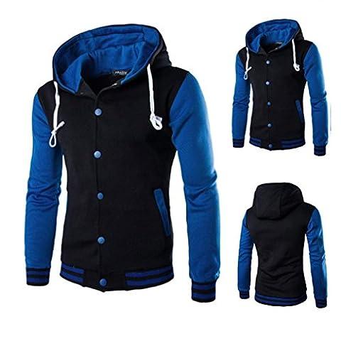Toamen hommes à capuche manteau de veste,top des nouveaux Full Bouton veste sweat à capuche pour homme, différentes couleurs (M, Marine)