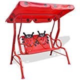 Festnight Children Swing Chairs 2 Seat Butterfly Hammock with Sunshade for Outdoor Patio (Red)