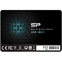 """Silicon Power SSD 512Go 3D NAND A55 SLC Cache Performance Boost 2.5 pouces SATA III 7mm (0.28"""") Interne SSD"""