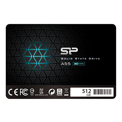 "Silicon Power 512GB-SSD 3D NAND A55 SLC Cache Performance Boost SATA III 2.5"" 7mm (0.28"") Internes Solid State Drive"