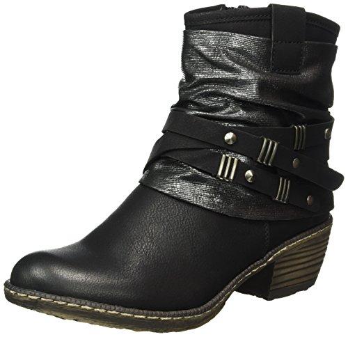 Rieker Kinder Mädchen K1483 Cowboy stiefel, Schwarz/Black-Silver / 01), 37 EU (Mädchen Für Cowboy-stiefel)