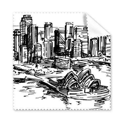 OIBHFO Home Australien-Stadt-Markstein-Sydney-Opernhaus-Skizze-Glas-Tuch-Putztuch-Telefon-Bildschirm-Reiniger