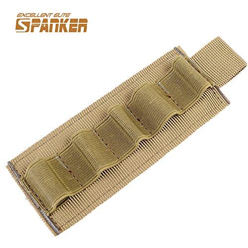 Tactical Shotgun Bullet Pouch Buttstock Reload striscia Shell piattaforma Velcro Ammo Carrier 5Round, Coyote Brown