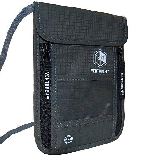 Borsello da Viaggio da portare al Collo con Protezione RFID Portapassaporto (Grey)