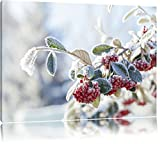 Vogelbeeren im Winter Format: 100x70 auf Leinwand, XXL riesige Bilder fertig gerahmt mit Keilrahmen, Kunstdruck auf Wandbild mit Rahmen, günstiger als Gemälde oder Ölbild, kein Poster oder Plakat