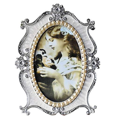tage ovalen Bilderrahmen 5 x 7 Zoll Tisch Display Wandmontage antiken Fotorahmen Home Decor (Color : White) ()