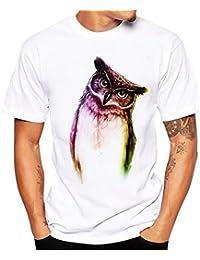 Camiseta Hombre,Longra ★ Camisetas Verano de Patrón de Búho de Manga Corta con Cuello Redondo Hombre Blusa de Moda Camisetas Originales