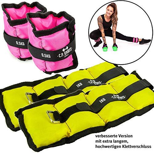 C.p. sports set pesi alle caviglie, 2x 500g e 2x 1000g cavigliere con pesi per piedi e polsi. pesi per braccia e gambe, 2x0,5kg+2x1kg