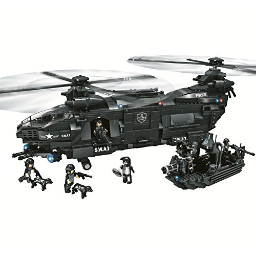 YeoMark City Police SWAT Militaire Ensembles de Construction Jouets de Construction, Compatible avec Lego et Playmobil [1351pcs]