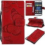 Huawei P8 Lite Hülle, Conber Lederhülle Handyhülle mit [Kostenlose Schutzfolie], PU Tasche Leder Flip Case Cover Emboss 3D Schmetterling Schutzhülle für Huawei P8 Lite - Rot