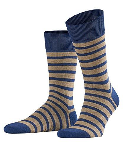FALKE Herren Even Stripe Baumwolle Geringelt 1 Paar Business Socken, Blickdicht, Mehrfarbig (royal Blue (6000), 43-46 (Blue-stripe-socken)