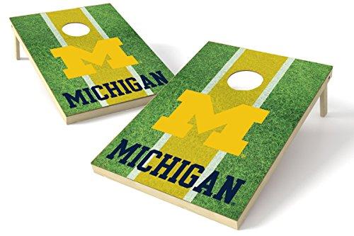 Michigan Board (Proline NCAA Kornloch-Set Field Design, Michigan Wolverines 2x3 Cornhole Board Set - Field, Team Color, 2' x 3')