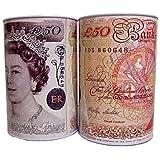 2 x Large Money Tin £50 - H 22cm x W 18cm.