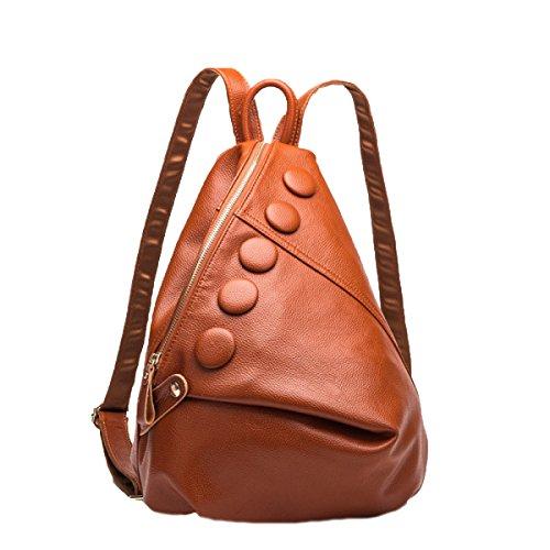 Damen Echtes Leder Rucksack Medium Cool Style Umhängetasche Mit Fünf Tasten,Brown-M