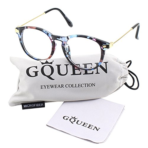 GQUEEN Modische Hornbrille Schlüsselloch Metallbügel Klare Gläser Brille PE8