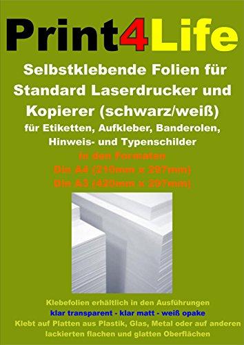 Preisvergleich Produktbild 10 Blatt DIN A3 Selbstklebende MATT transluzente Premium Folien für schwarz-weiß Laserdrucker und Kopierer (Standard Laserdrucker + Kopierer) Dicke : 0,08mm