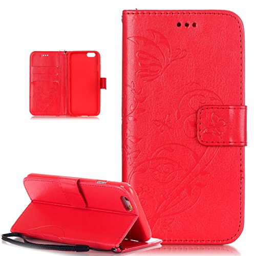 iPhone 6S Plus Hülle,iPhone 6 Plus Hülle,iPhone 6S Plus / 6 Plus Hülle (5,5 Zoll),iPhone 6S Plus / 6 Plus Lederhülle Handyhülle,ikasus® Handyhülle iPhone 6S Plus / 6 Plus Ledercase Tasche Hüllen Brief Rot