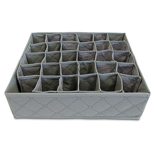 Aufbewahrungsbox Faltbar 30 Fächer - Grau ca. 34 x 32 x 10 cm - Sortierkasten Aufbewahrung und Präsentation - Grinscard