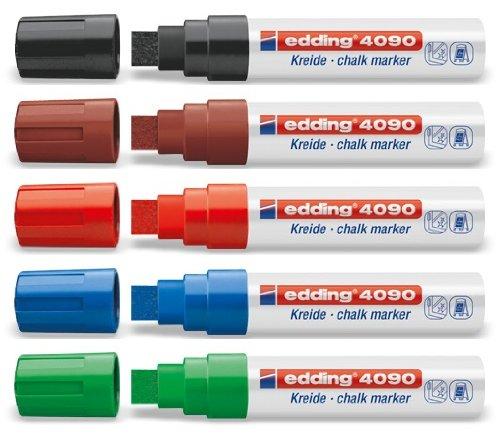 Kreide-/Fenstermarker e-4090, 4-15mm, 5ST Grundfarben