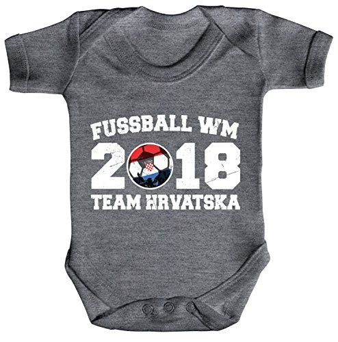 ShirtStreet Kroatien Croatia Fußball WM Fanfest Gruppen Strampler Bio Baumwoll Baby Body kurzarm Jungen Mädchen Team Hrvatska, Größe: 12-18 Monate,Heather Grey Melange