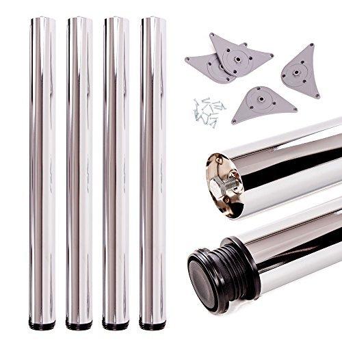 Tischbeine, höhenverstellbar | Sossai® Premium TBCH | Design: Chrom | 4 Stück | Montagezubehör inklusive | Höhe: 71 cm (710 mm), einstellbar +2cm