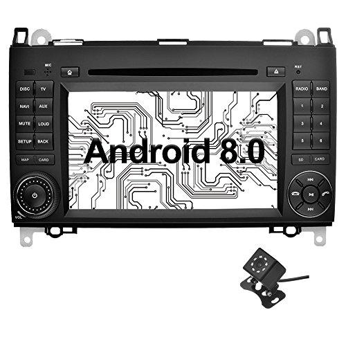Ohok 7 Zoll Bildschirm 2 Din Autoradio Android 8.0.0 Oreo Octa mit Navi Moniceiver DVD GPS Navigation Unterstützt Bluetooth DAB+ für Mercedes-Benz A-Class/B-Class/Vito mit Klein-Rückfahrkamera - Benz Mercedes Verstärker