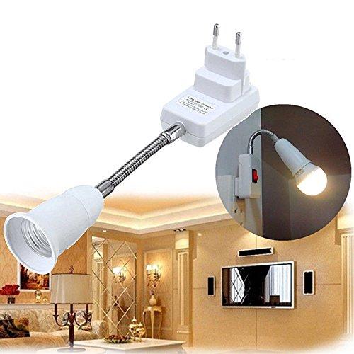Die Lampe Stand (Lanlan Universal flexibel verstellbar Konverter Adapter-Stecknuss mit Schalter europäischen Verordnung Stecker E27Lampe Halter LED-Glühbirne)
