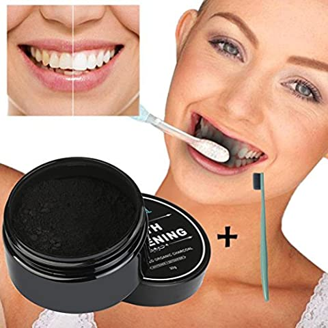Xshuai® 30g Natural Activated Charcoal Teeth Whitening Powder with Organic Activated Charcoal Bamboo Toothpaste for Stronger Healthy White Teeth (Black)