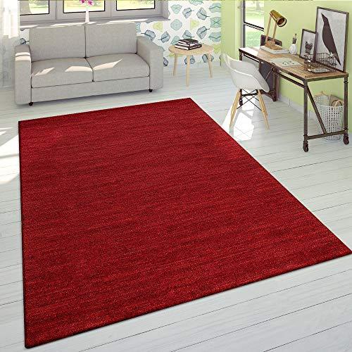 Paco Home Wohnzimmer Teppich Kurzflor Modern Einfarbig Weich Velours Meliert In Uni Rot, Grösse:160x230 cm
