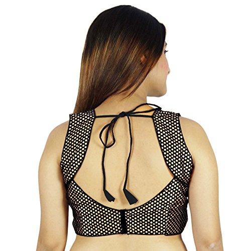 Mariage Porter Prêt-Made Designer Crop-Top Stitched Blouse Noir