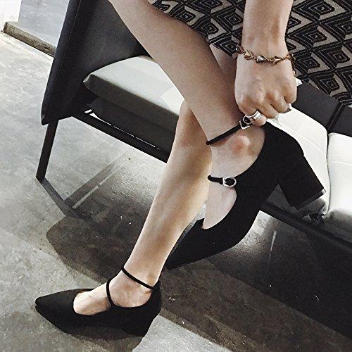 SHOESHAOGE Talons Pointus Automne Femme Épaisse Avec Un Peu Rétro Boucle Mot Bouche Professionnel Chaussures De Talon Chaussures Couleur unie