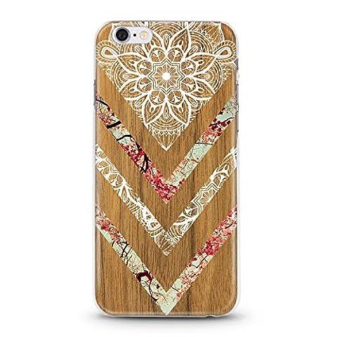 Coque Iphone 6 PLUS Effet Bois Marbre Fleur dentelle Blanc Chic