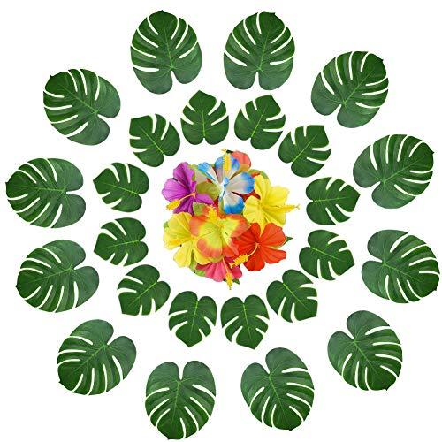 SunBeter 75 Stück Tropische Palmblätter und Seide Hibiscus Flowers Party Decor Tropische Palm Turtle Shell Blätter für Garten-Dschungel-Strand-Party Versorgungsmaterialien