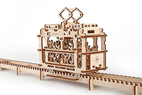 UGEARS Unique Glue Free Eco Friendly Wooden Mechanical Self Assembly Moving Kit - Tram by