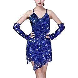 Yixiudz Femme Robe de Danse Latine Rumba Danse Vintage Costume de Danse du Ventre Robe Performance Costume