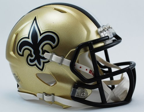 OFFICIAL NFL NEW ORLEANS SAINTS MINI SPEED AMERICAN FOOTBALL HELMET BY RIDDELL Test