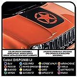 GRAFIC Autocollant pour Nouveau Capot Bande pour Capot de Voiture avec étoile Effet usé et sculpté Sticker Decal de qualité supérieure (Noir)